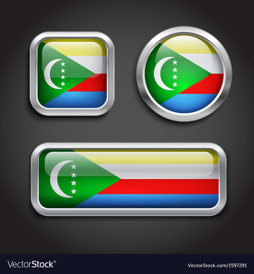 Comoros flag glass buttons vector | Price: 1 Credit (USD $1)