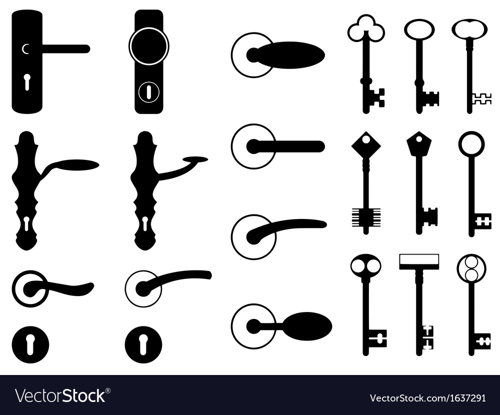 Door knobs and old keys vector