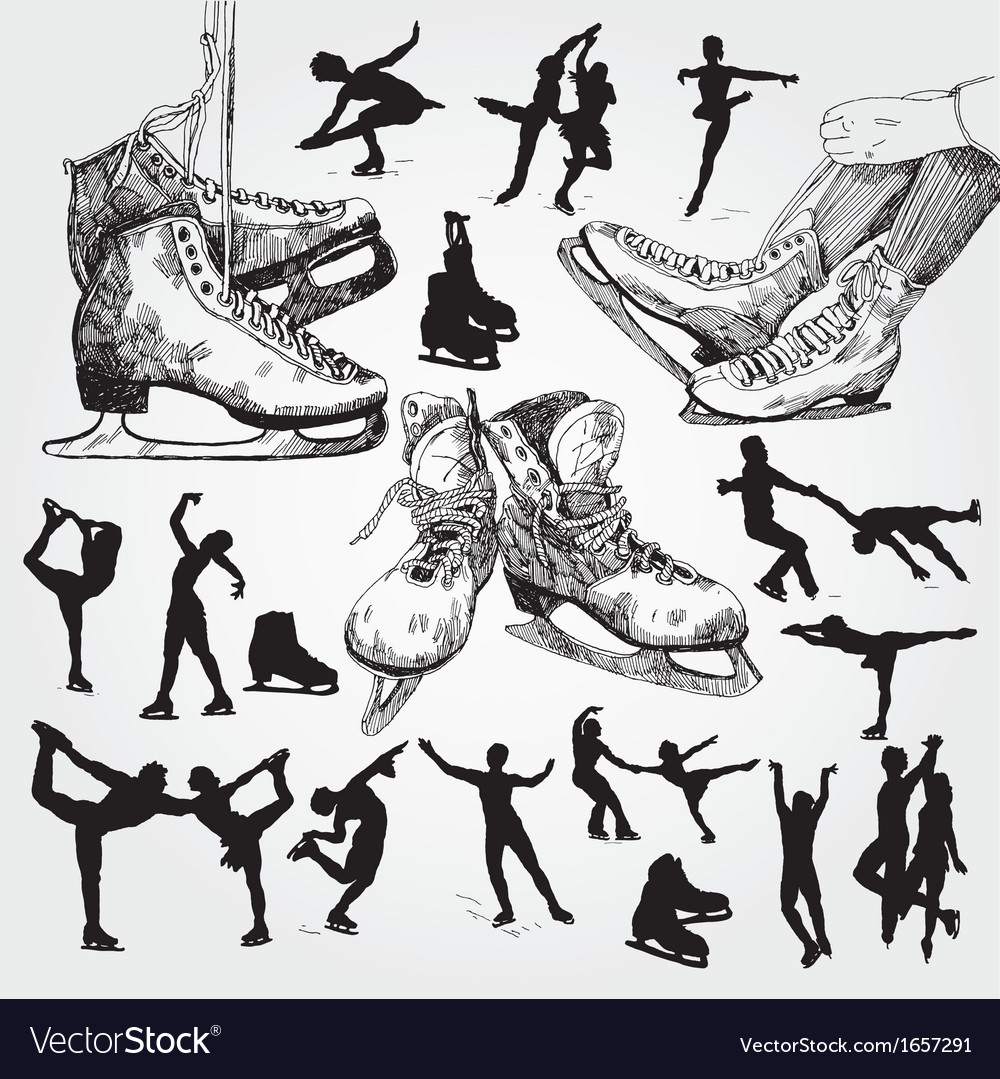 Figure skating silhouettes vector | Price: 1 Credit (USD $1)