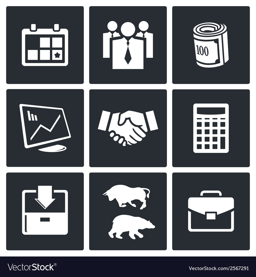 Financial exchange icon set vector | Price: 1 Credit (USD $1)