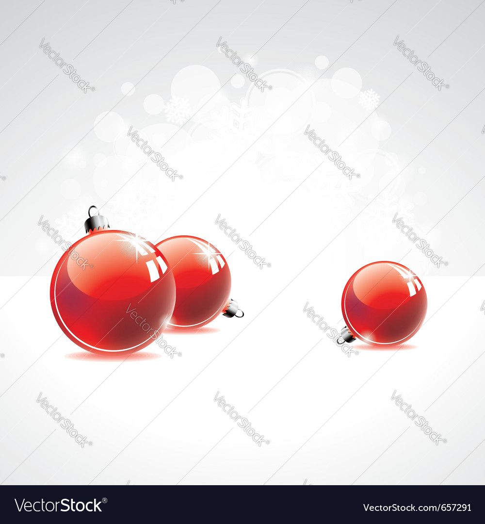 Holiday with red christmas balls vector | Price: 1 Credit (USD $1)