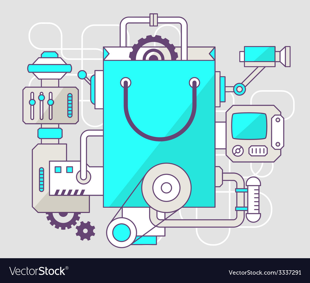 Industrial of the mechanism of shopping bag vector | Price: 3 Credit (USD $3)