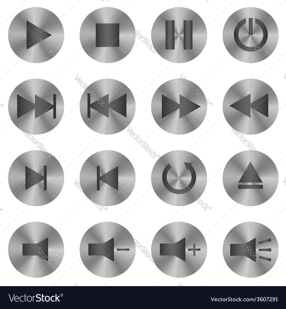 Media player icons vector | Price: 1 Credit (USD $1)