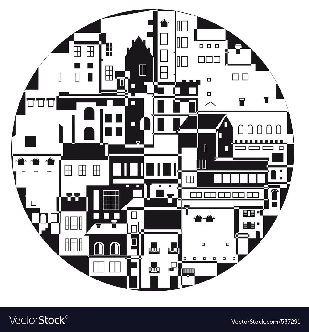 Monochrome town vector | Price: 1 Credit (USD $1)