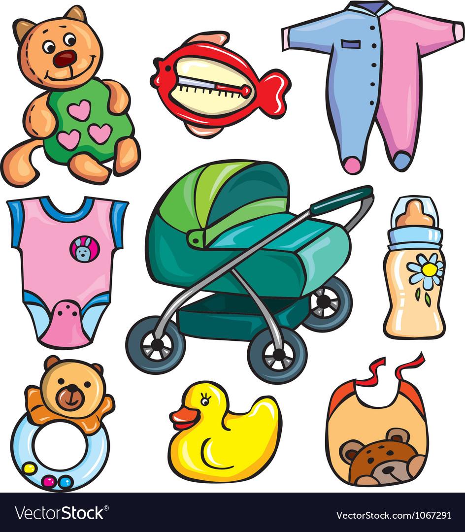 Newborn accessories icons set vector | Price: 3 Credit (USD $3)