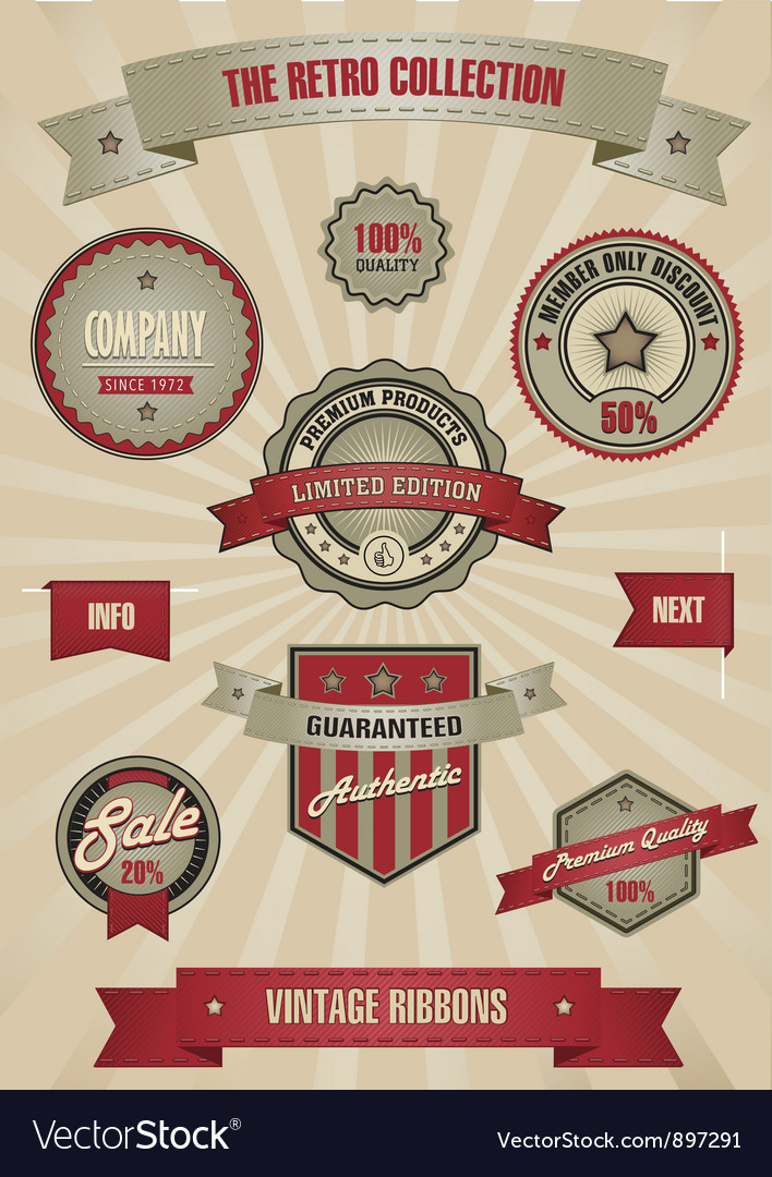 Retro design set elements vector | Price: 1 Credit (USD $1)