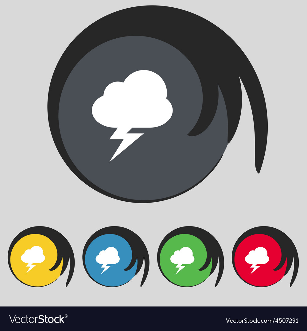 Storm icon sign symbol on five colored buttons vector   Price: 1 Credit (USD $1)