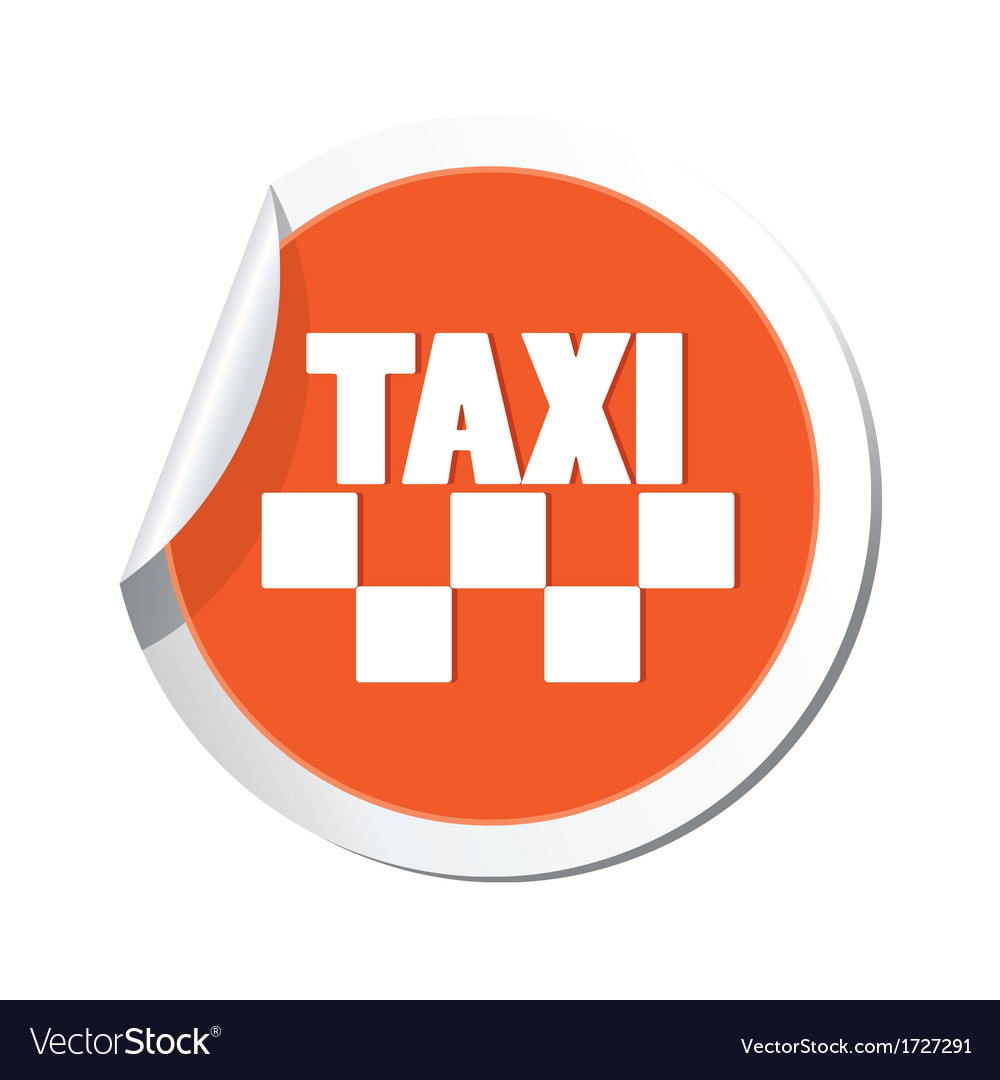 Taxi sign orange sticker vector   Price: 1 Credit (USD $1)