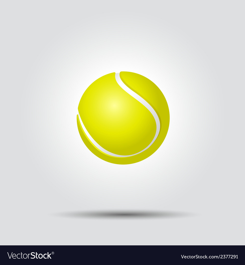 Tennis ball on white background with shadow vector | Price: 1 Credit (USD $1)