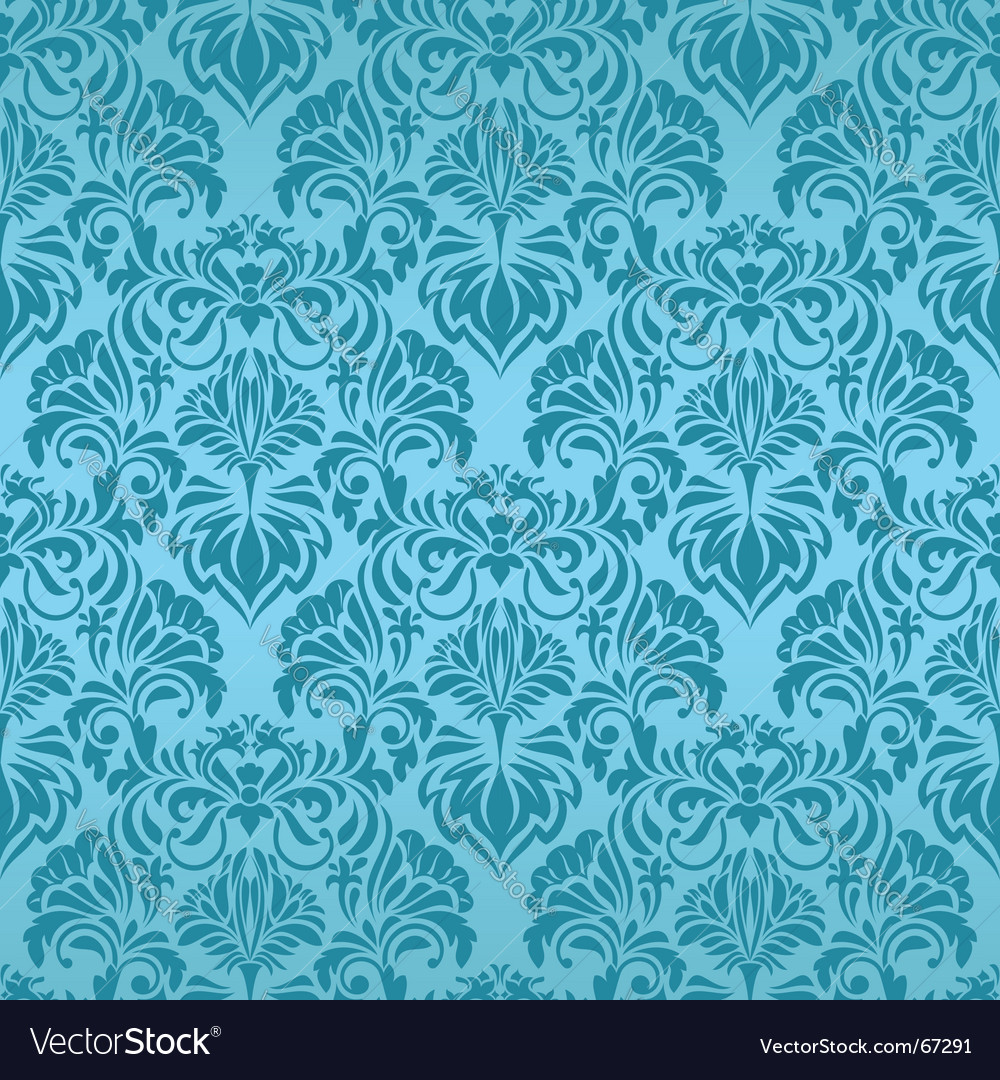 Turquoise seamless wallpaper vector | Price: 1 Credit (USD $1)