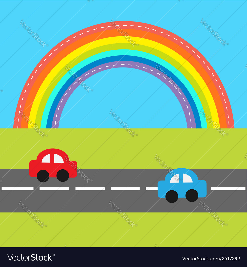 Background with rainbow road and cartoon cars vector | Price: 1 Credit (USD $1)