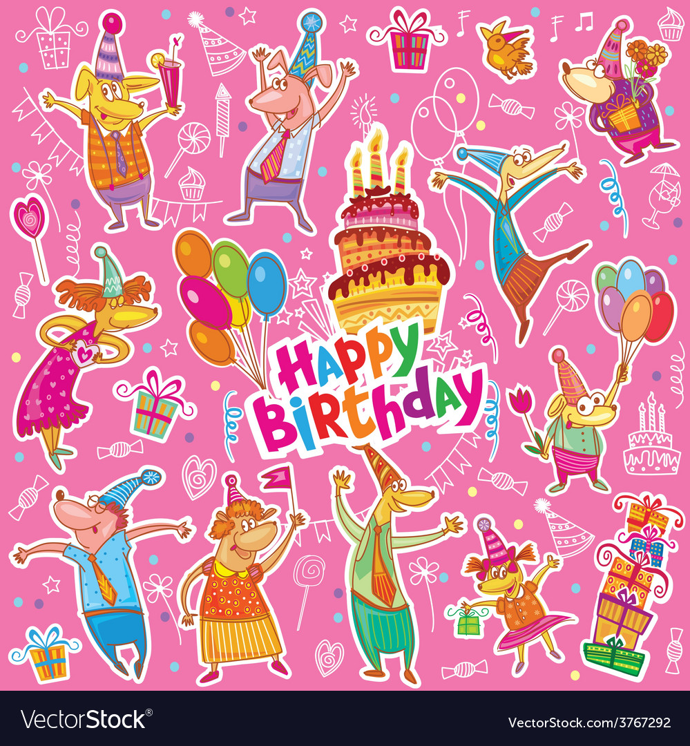 Birthday stickers vector | Price: 1 Credit (USD $1)