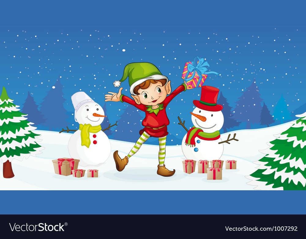 Christmas elf and snowman vector | Price: 3 Credit (USD $3)
