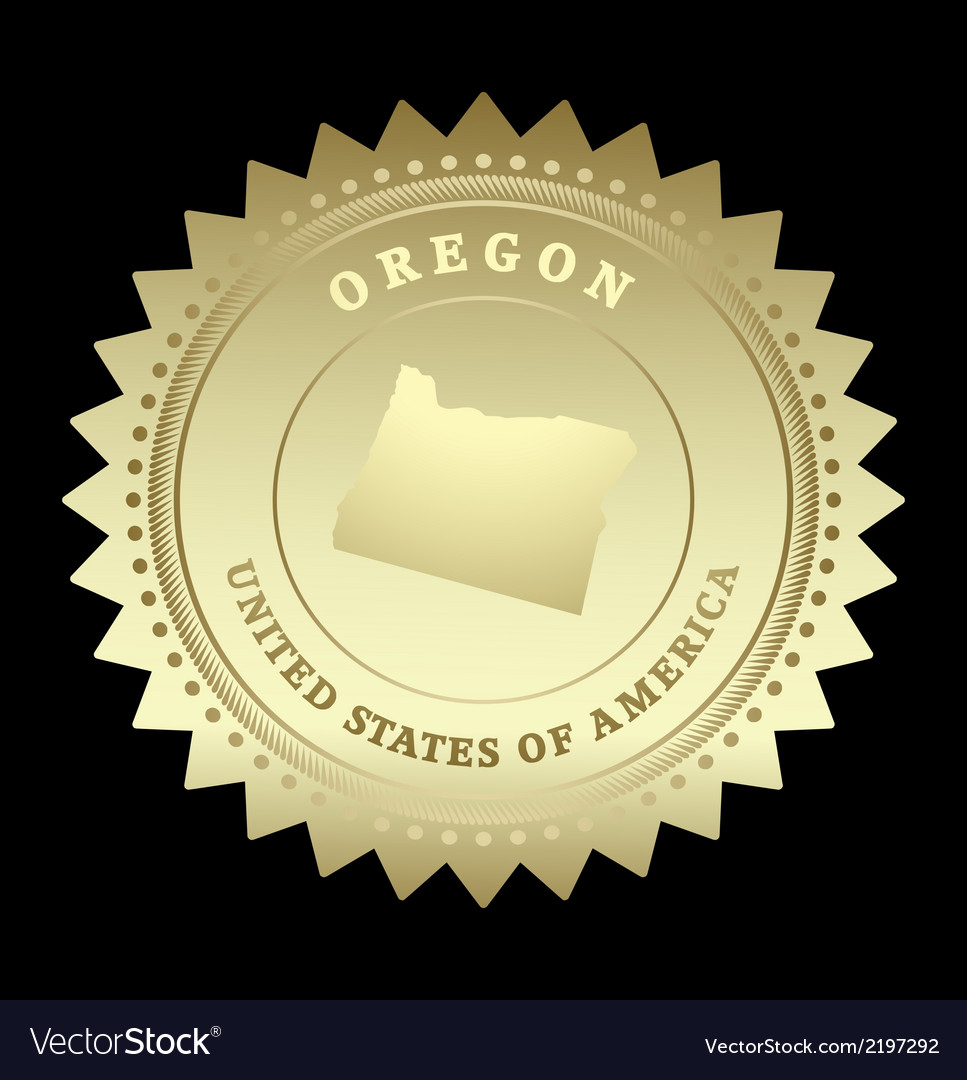 Gold star label oregon vector | Price: 1 Credit (USD $1)
