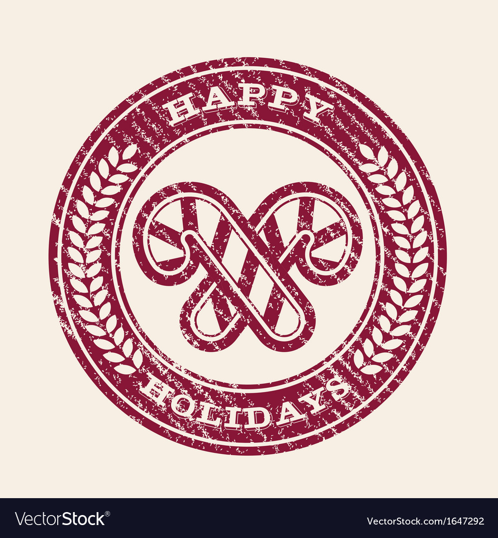 Grunge happy holidays emblem vector | Price: 1 Credit (USD $1)