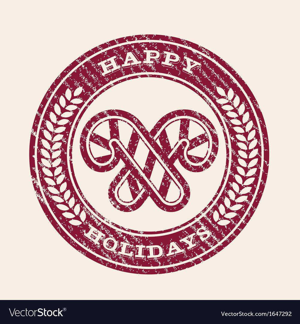 Grunge happy holidays emblem vector | Price: 1 Credit (USD $1)