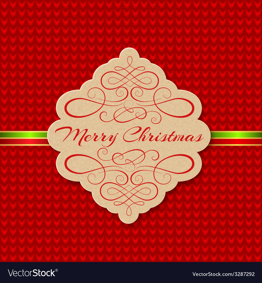 Knitted background with christmas label greeting vector | Price: 1 Credit (USD $1)