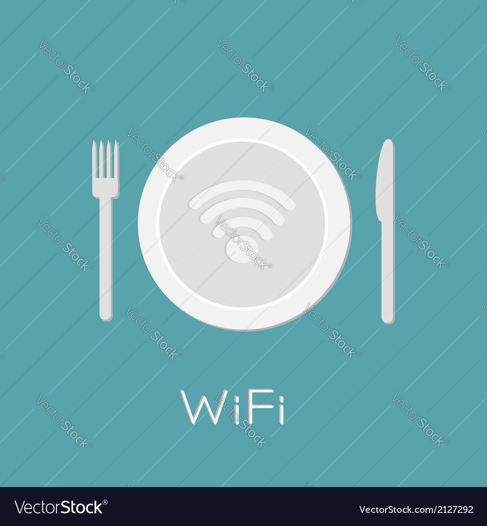Plate with wireless network wifi icon inside knife vector | Price: 1 Credit (USD $1)