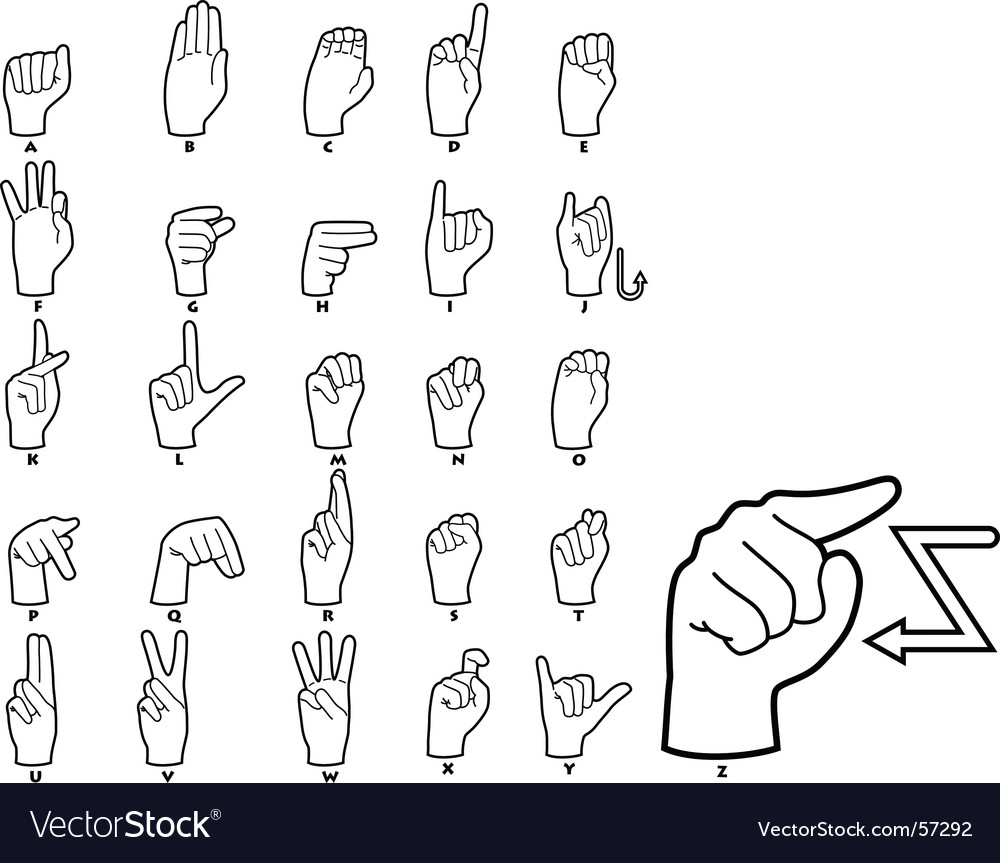 Sign language alphabet vector | Price: 1 Credit (USD $1)