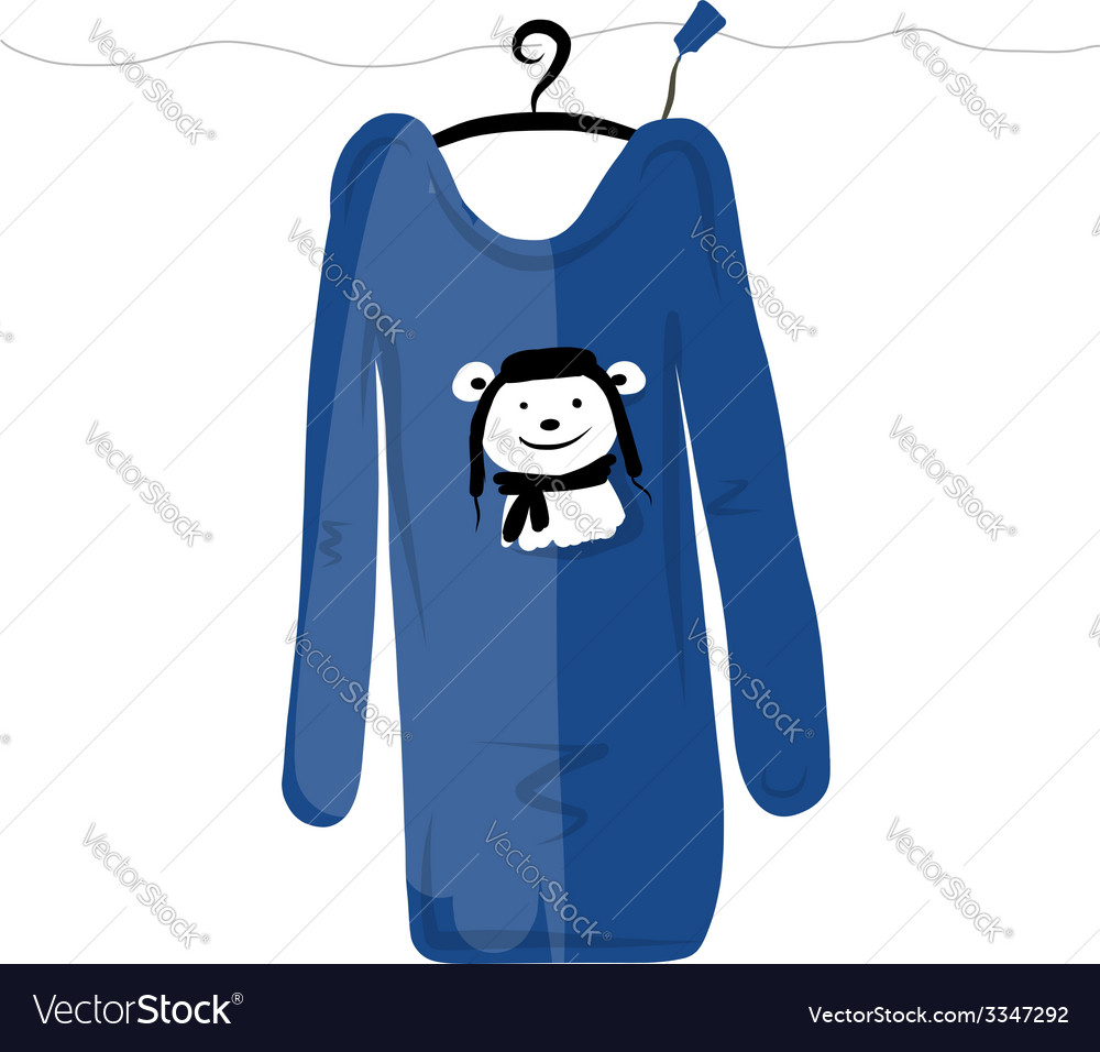 Sweater on hangers with funny bear design vector | Price: 1 Credit (USD $1)