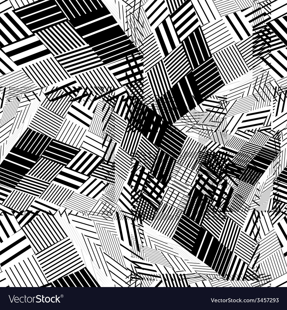 Black and white geometric stripy seamless pattern vector | Price: 1 Credit (USD $1)