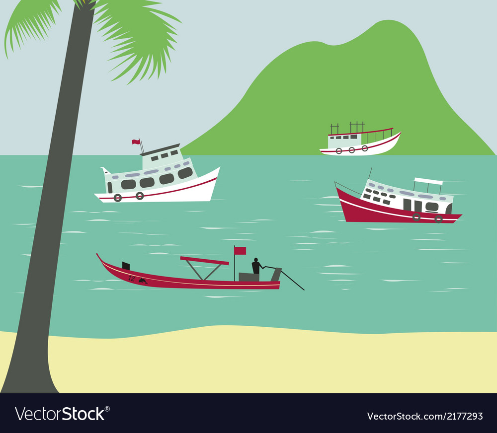 Boats on tropical beach vector | Price: 1 Credit (USD $1)