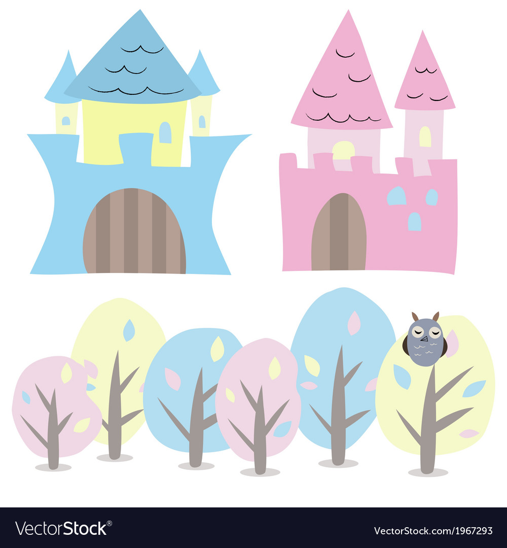 Castle and trees set vector | Price: 1 Credit (USD $1)