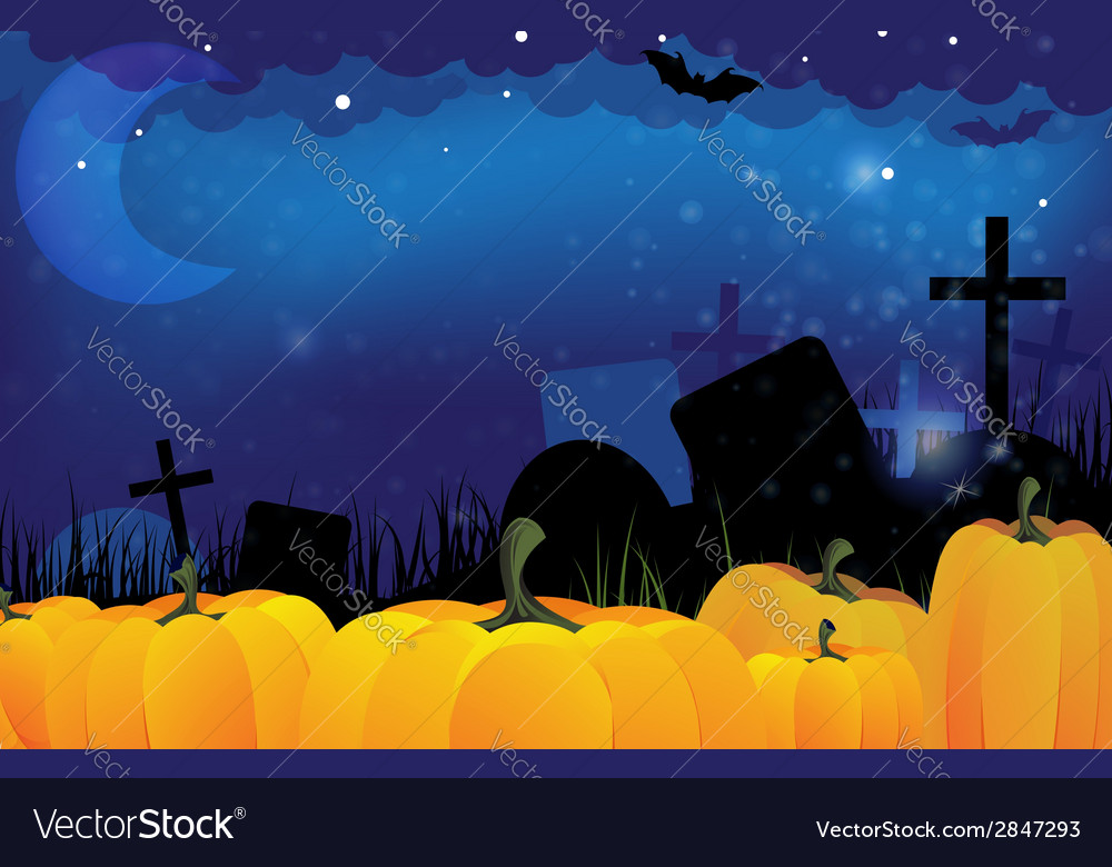 Cemetery and ripe pumpkins vector | Price: 1 Credit (USD $1)