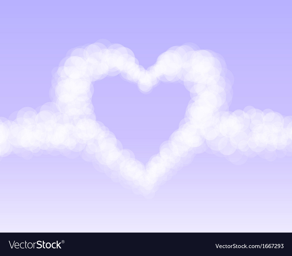 Clouds heart on pink romantic sky background vector | Price: 1 Credit (USD $1)