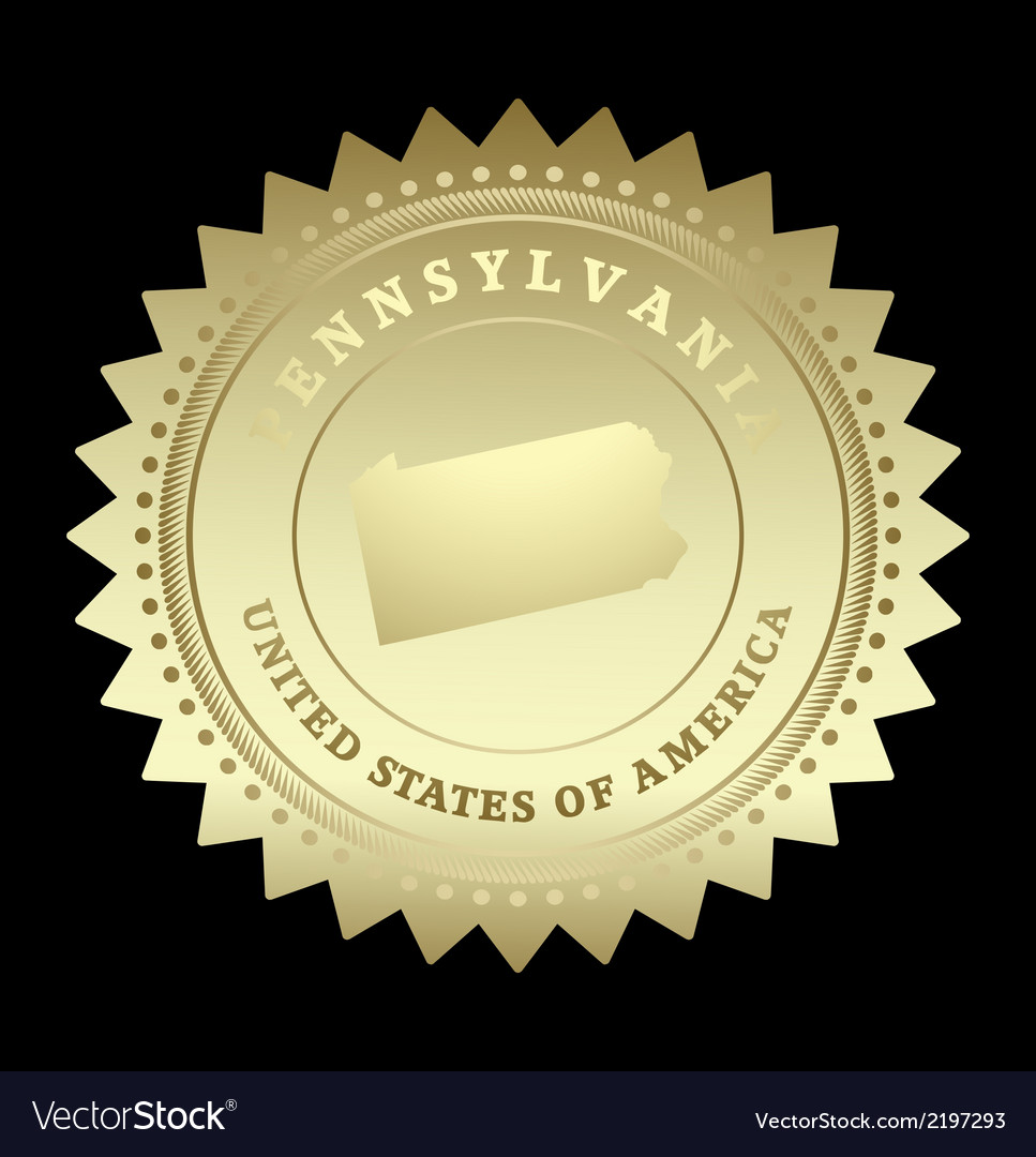 Gold star label pennsylvania vector | Price: 1 Credit (USD $1)