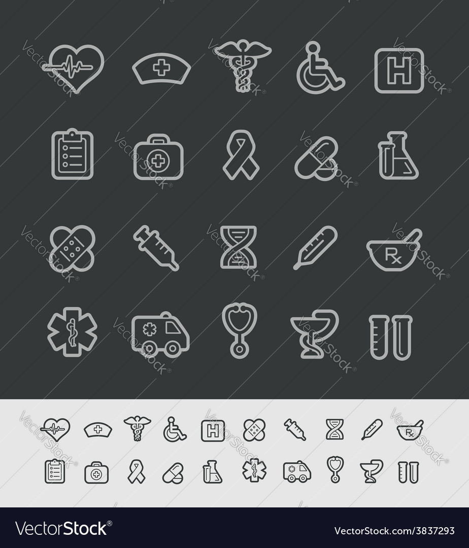 Medical icons black line vector | Price: 1 Credit (USD $1)