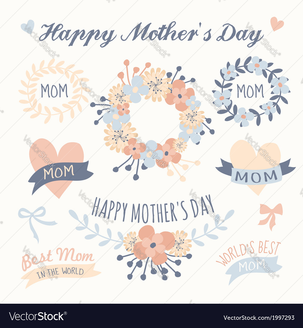 Mothers day beautiful floral design elements set vector | Price: 1 Credit (USD $1)