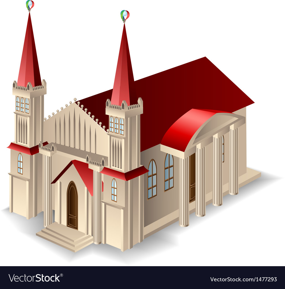 Old church building vector | Price: 1 Credit (USD $1)