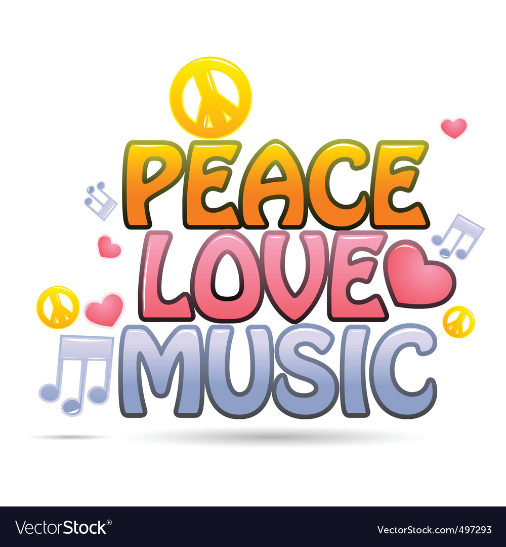 Peace love music vector | Price: 1 Credit (USD $1)