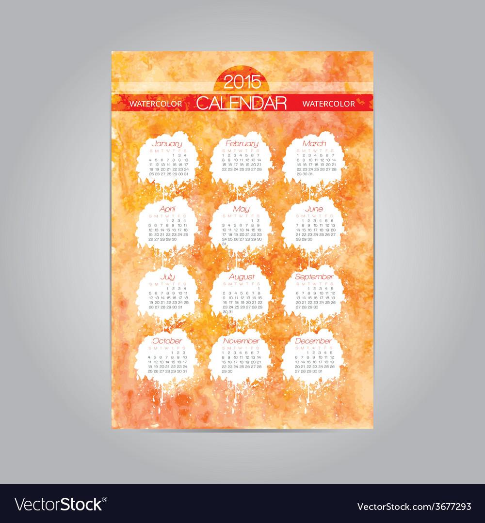 Watercolor vintage calendar template 2015 vector | Price: 1 Credit (USD $1)