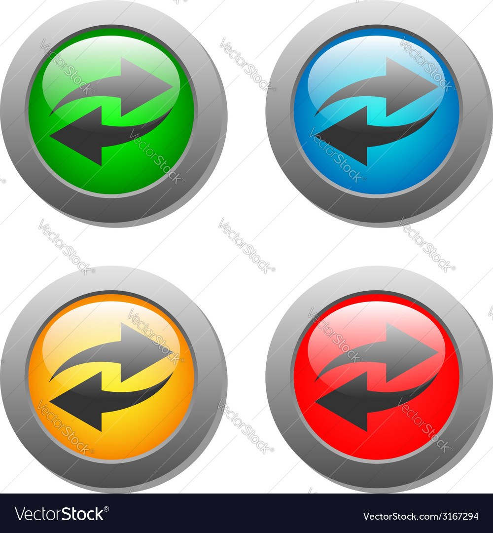 Arrow icon set on glass buttons vector | Price: 1 Credit (USD $1)