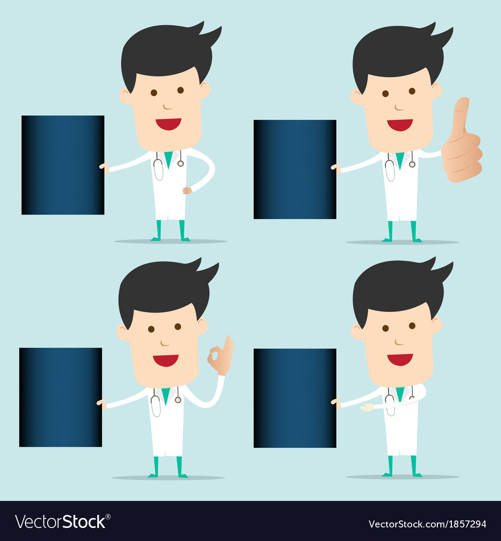 Cartoon doctor character use hand showing x-ray vector | Price: 1 Credit (USD $1)