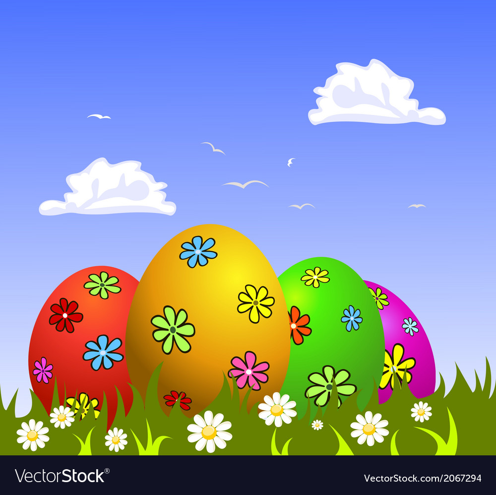 Colorful easter eggs on grass vector | Price: 1 Credit (USD $1)