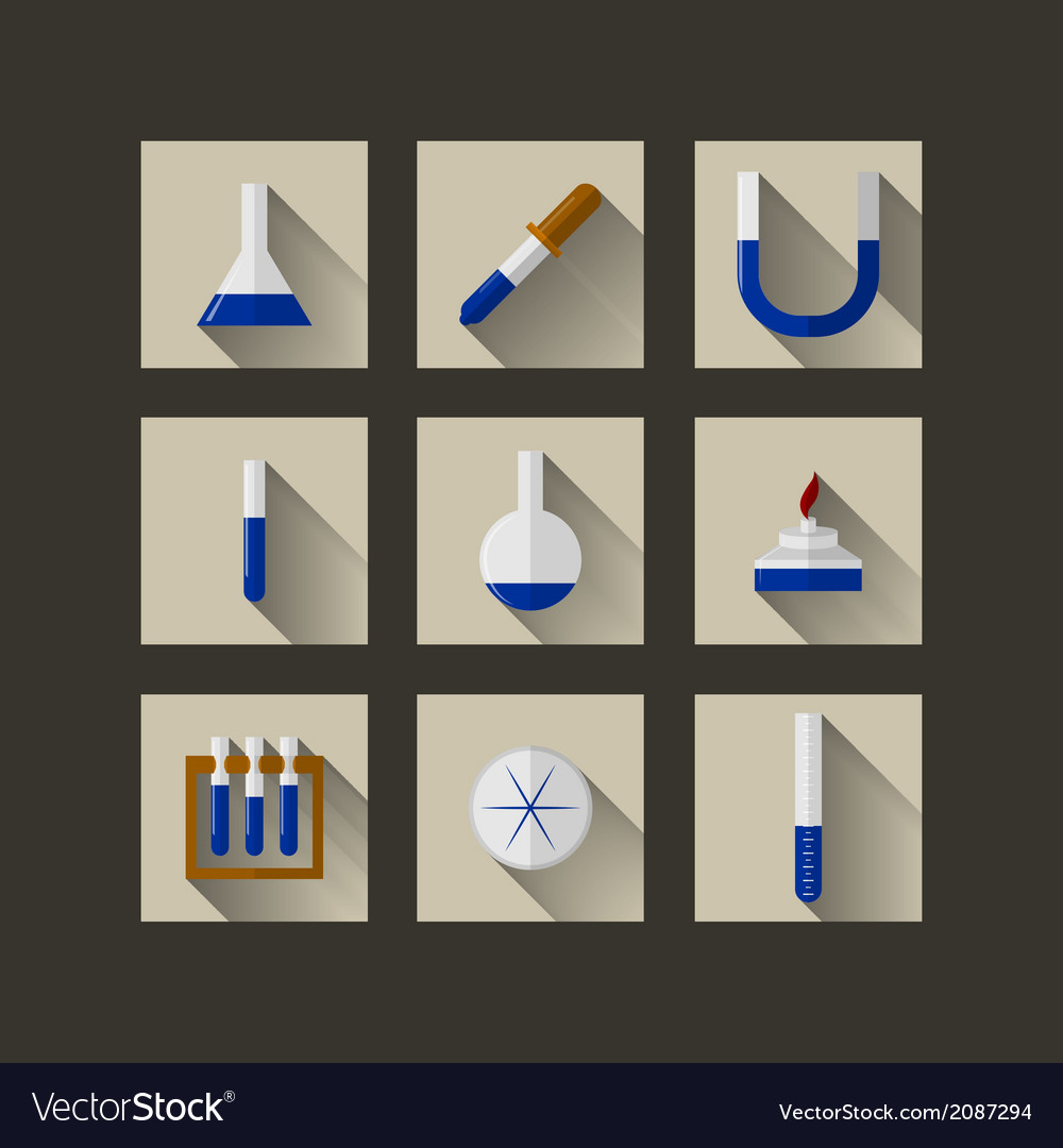 Flat icons for chemistry vector | Price: 1 Credit (USD $1)