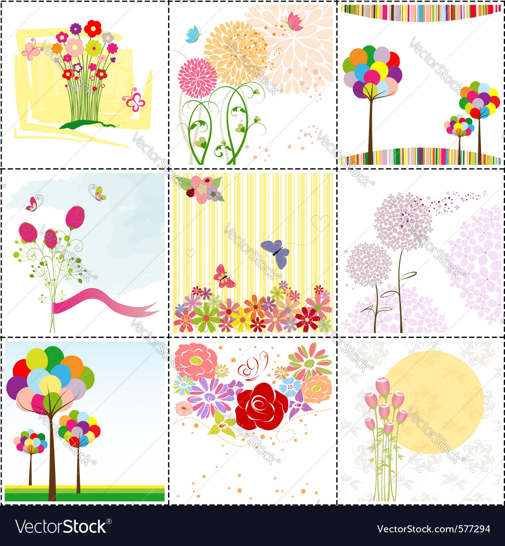 Flower cards vector | Price: 1 Credit (USD $1)