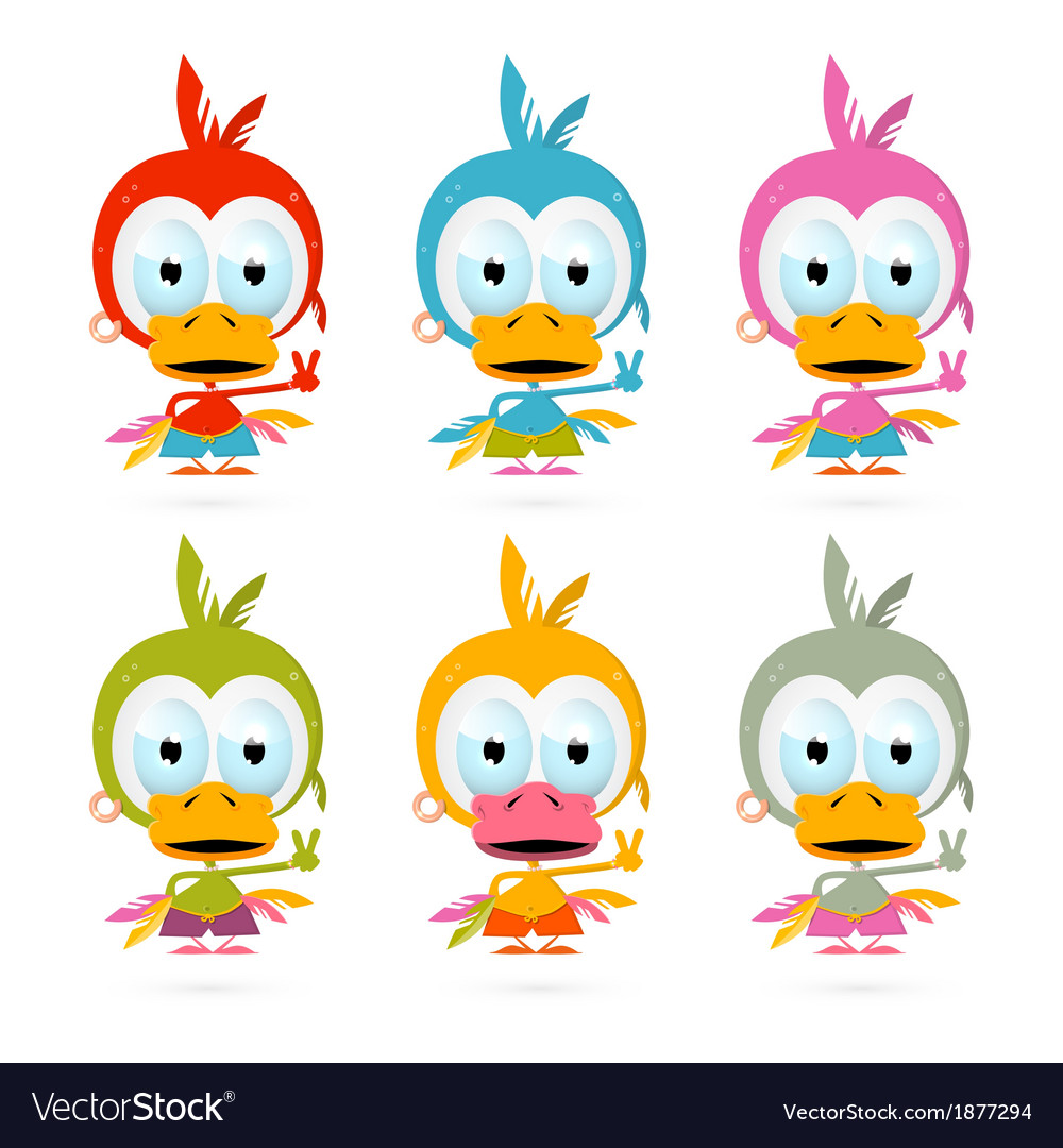 Funny red bird - chicken - duck set vector | Price: 1 Credit (USD $1)