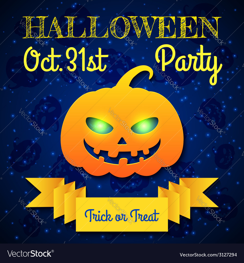 Halloween party card template vector | Price: 1 Credit (USD $1)
