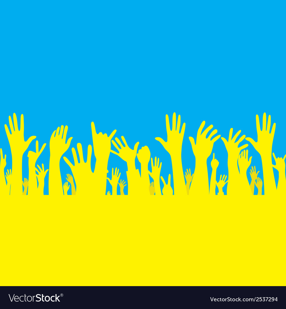 Hand with ukraine flag vector | Price: 1 Credit (USD $1)