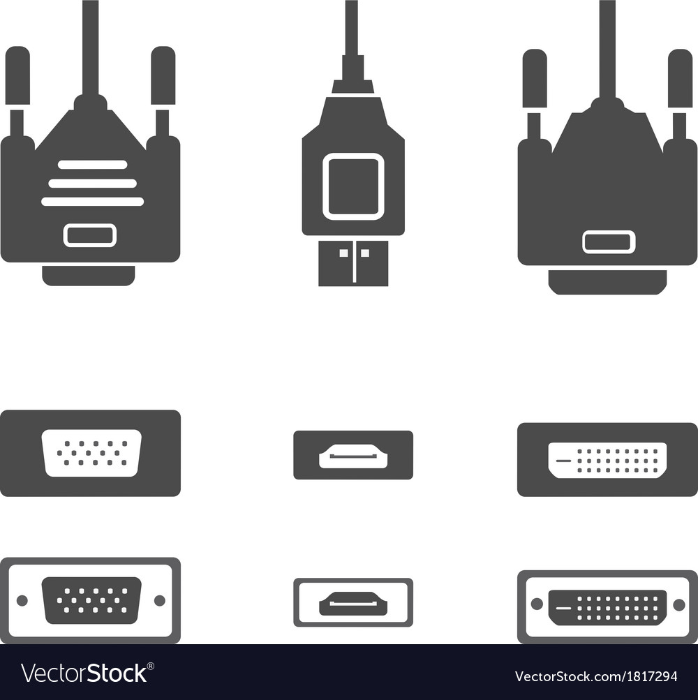 Monitor hardware icons cabels vector | Price: 1 Credit (USD $1)