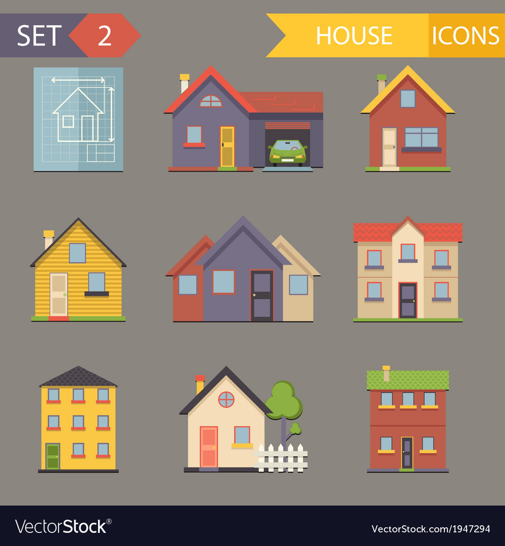 Retro flat house icons and symbols set vector | Price: 1 Credit (USD $1)