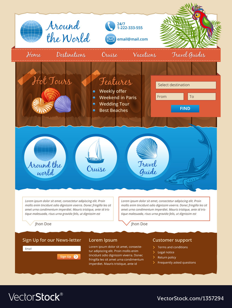 Template for travel website vector | Price: 3 Credit (USD $3)