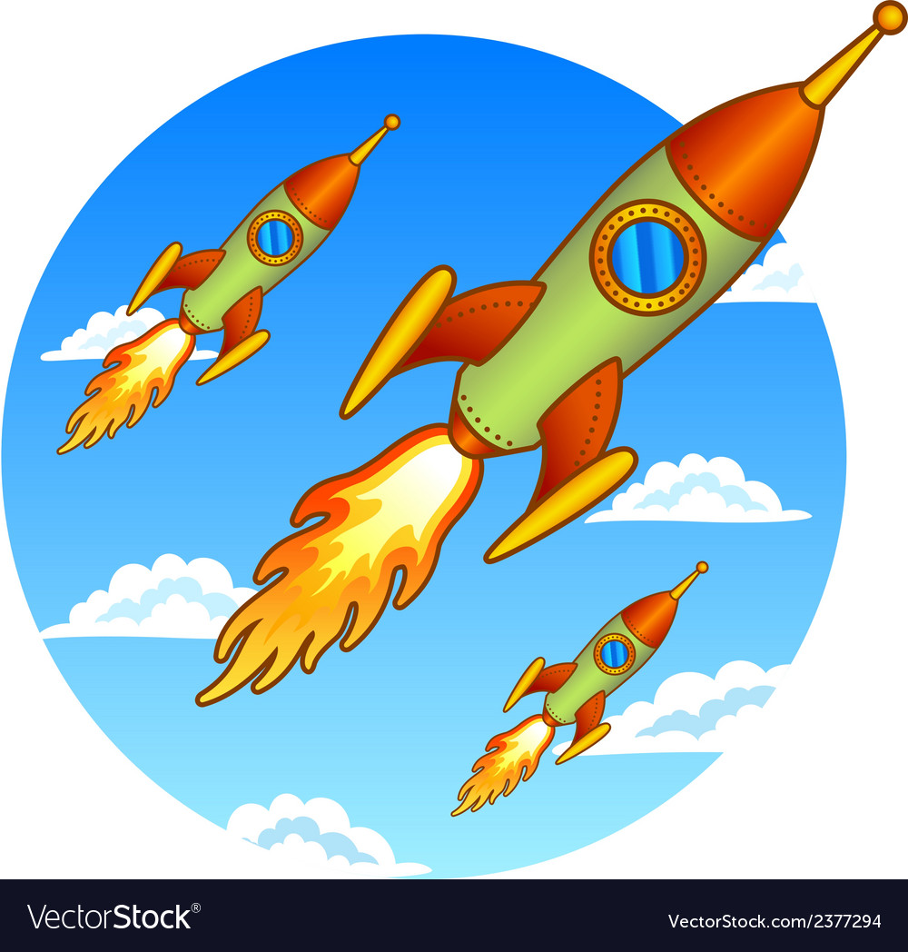 Vintage old rockets on a sky background vector | Price: 1 Credit (USD $1)