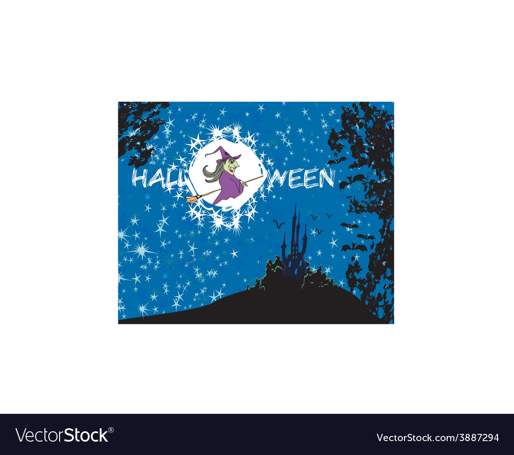 Witch flying on a broom in moonlight vector | Price: 1 Credit (USD $1)