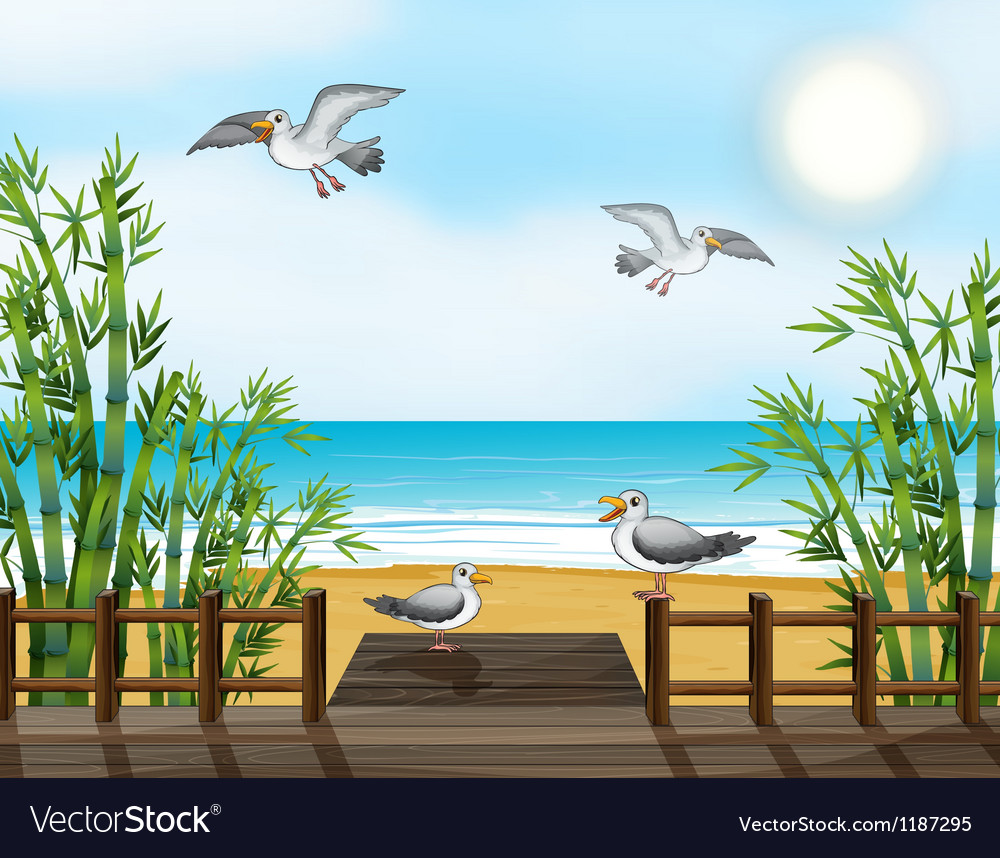 A flock of birds at the bridge vector | Price: 1 Credit (USD $1)