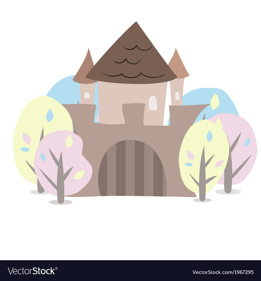 Castle with trees on a white vector | Price: 1 Credit (USD $1)